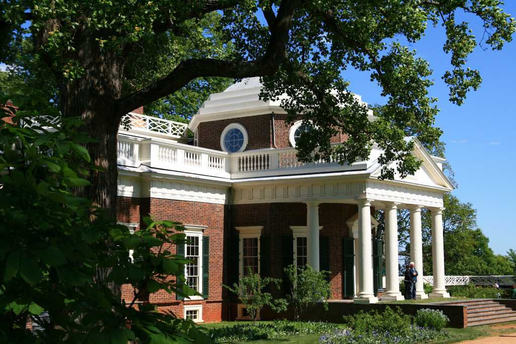 Portico and entryway to Monticello, Thomas Jefferson's home.