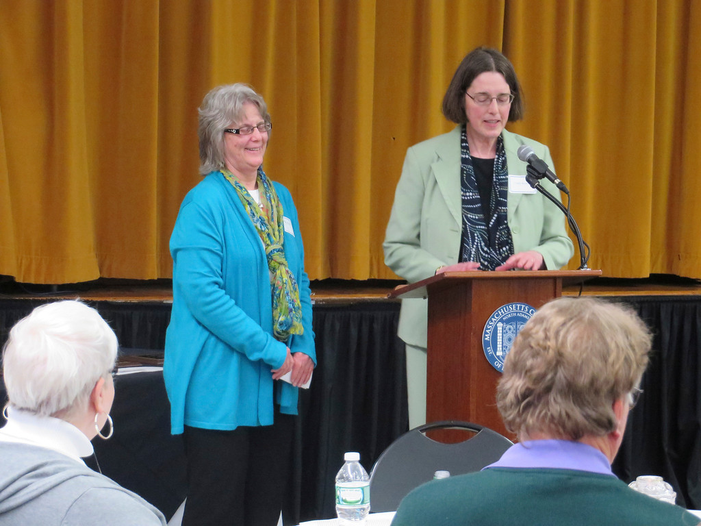 . 2014 Berkshire County Educator Award recipient, Jo-ellen Height, (left) an integrated special needs pre-kindergarten teacher at Undermountain Elementary School, shares a laugh with Cynthia Brown, Massachusetts College of Liberal Arts vice president of academic affairs during a May 1 ceremony at MCLA. Jenn Smith/Berkshire Eagle Staff/photos.berkshireeagle.com May 1, 2014
