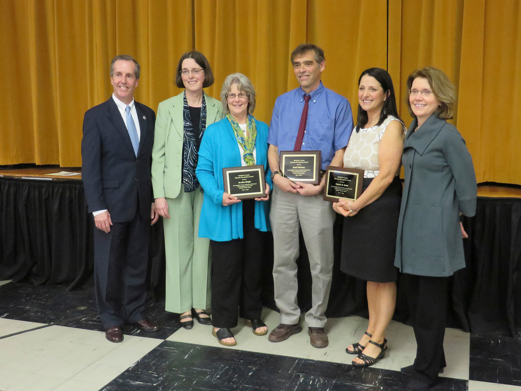 ". From left: State Rep. William ""Smitty\"" Pignatelli, MCLA Vice President of Academic Affairs pose with 2014 Berkshire County Educator Recognition Award recipients Jo-ellen Height, Dr. Brad Whateley and Patricia Robie, and MCLA President Mary Grant during a May 1 ceremony held at the Massachusetts College of Liberal Arts. Jenn Smith/Berkshire Eagle Staff/photos.berkshireeagle.com May 1, 2014"