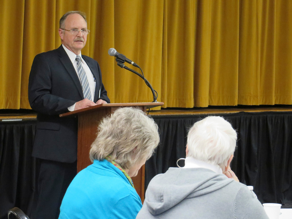. Southern Berkshire Regional School District Superintendent David Hastings makes remarks during the 2014 Berkshire County Educator Recognition Award Ceremony held May 1 at the Massachusetts College of Liberal Arts. Jenn Smith/Berkshire Eagle Staff/photos.berkshireeagle.com May 1, 2014