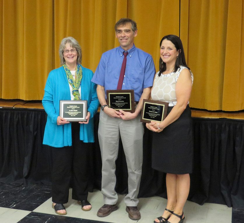 . From left: 2014 Berkshire County Educator Recognition Award recipients Jo-ellen Height, Dr. Brad Whateley and Patricia Robie were honored during a May 1 ceremony held at the Massachusetts College of Liberal Arts. Jenn Smith/Berkshire Eagle Staff/photos.berkshireeagle.com May 1, 2014
