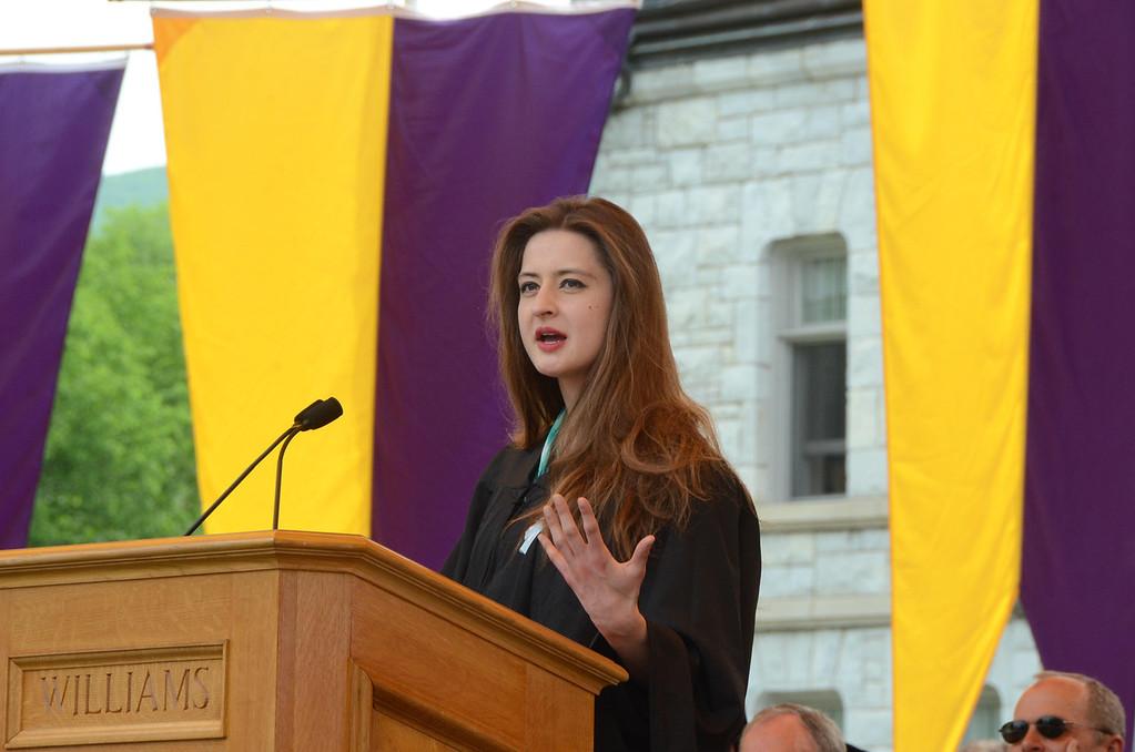 . Williams College senior Julia Davis of Phi Beta Kappa gives a speech at the college\'s 225th commencement on Sunday, June, 8, 2014. Gillian Jones / Berkshire Eagle Staff / photos.berkshireeagle.com