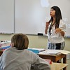 JENN SMITH — THE BERKSHIRE EAGLE <br /> Mayra Weiskotten conducts a lesson in her Spanish: 101 class on Monday, the first day of classes, at Berkshire Arts & Technology Charter Public School in Adams.