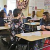 JENN SMITH — THE BERKSHIRE EAGLE <br /> Students introduce themselves to one another in Mayra Weiskotten's Spanish: 101 class on Monday, the first day of classes, at Berkshire Arts & Technology Charter Public School in Adams.