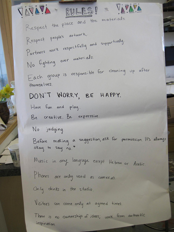 ". Students in the Artsbridge program based at Buxton School in Williamstown this summer posted this list of art studio rules, from ""Respect the place and the materials\"" to \""Don\'t worry, be happy.\"" Sunday, July 21, 2013 Jenn Smith/Berkshire Eagle Staff"