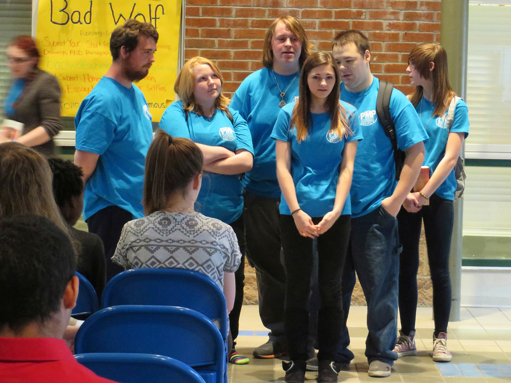 . Members of Barrington Stage Company\'s Playwright Mentoring Project perform a scene about a teenager being tormented by negative thoughts and being bullied. The performance was presented at Berkshire Arts and Technology Charter Public School in Adams. Jenn Smith/Berkshire Eagle Staff/photos.berkshireeagle.com Friday, April 4, 2014