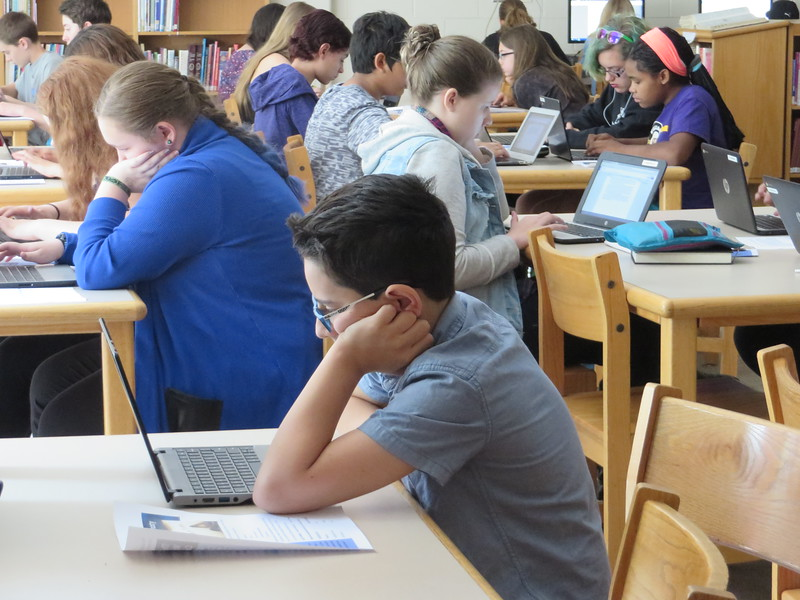 Seventh-graders from around Berkshire County gathered at Nessacus Regional Middle School in Dalton on May 27 for the 34th Seventh Grade Berkshire County Writing Contest. It marked the first year students wrote their essays on the computer, versus using pencil and paper.