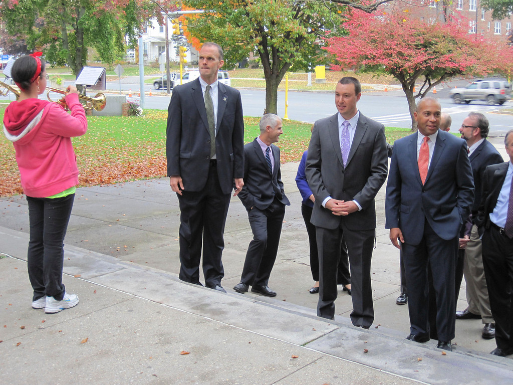. Governor Deval Patrick and other state and local officials visited Pittsfield High School on Monday to participate in a roundtable discussion with students. Here, they are greeted by the PHS Marching Band. Jenn Smith/Berkshire Eagle Staff Monday, Oct. 7, 2013