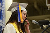 Gillian Jones/North Adams Transcript <br /> Drury High School senior Abigail Bolner gives the Salutatory Address on Thursday night during graduation exercises.