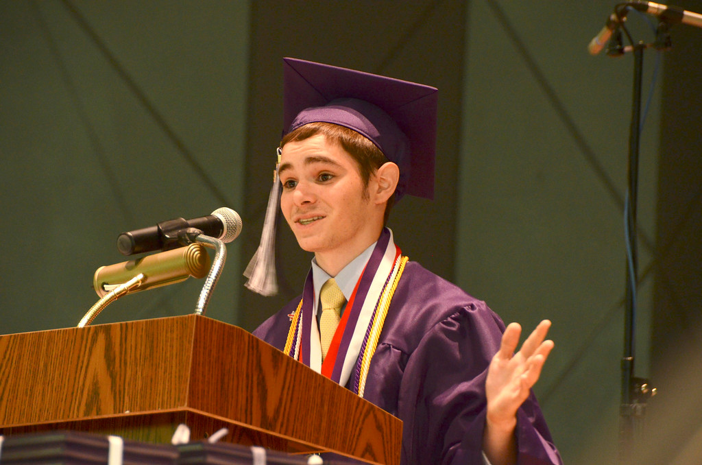 . Pittsfield High School student Thomas Reilly gives the graduation address during commencement exercises at Tanglewood on Sunday, June, 8, 2014. Gillian Jones / Berkshire Eagle Staff / photos.berkshireeagle.com