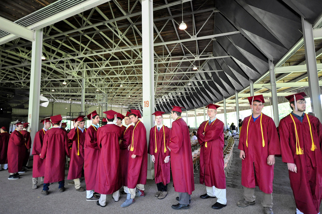 . Graduates line up for their procession through the shed before the Monument Mountain Regional High School exercises at Tanglewood in Lenox on Sunday, June, 1, 2014. Gillian Jones / Berkshire Eagle Staff / photos.berkshireeagle.com