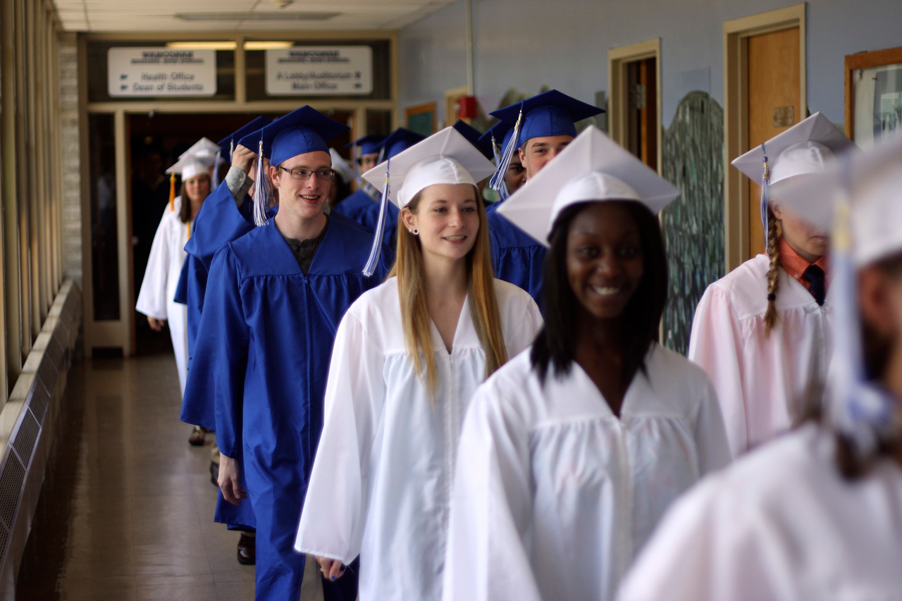 Members of the 2013 Wahconah Regional High School graduating class took their final walk through the halls prior to their commencement ceremony Sunday. (STILTS Sunday June 9, 2013)