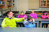 Students wear glasses to learn about the refraction of light with Adrienne Wootters the science lab  MCLA on Wednesday, Dec. 4, 2013. Third graders from Clarksburg, Sullivan, Brayton and Greylock Elementary Schools participate in a visit to MCLA where they learned about T.V. production, athletic training, fine and performing arts, foreign languages and science.