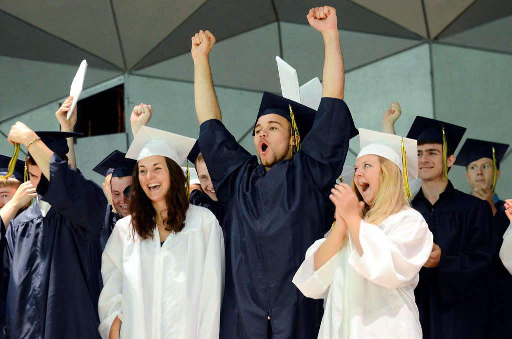 . Mount Everett School graduates cheer at the end of commencement at Tanglewood in Lenox, Saturday June 7, 2014.  Ben Garver / Berkshire Eagle Staff / photos.berkshireeagle.com