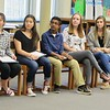 JENN SMITH — THE BERKSHIRE EAGLE <br /> Reid Middle School eighth-graders Gianna Arace, Ellianna Christopher, Benjamin Vengalil, Kileigh McGann and Caitlyn Mayhew are surprised with S.A.Y. It Proud Awards during a May 24 gathering at the school's library.