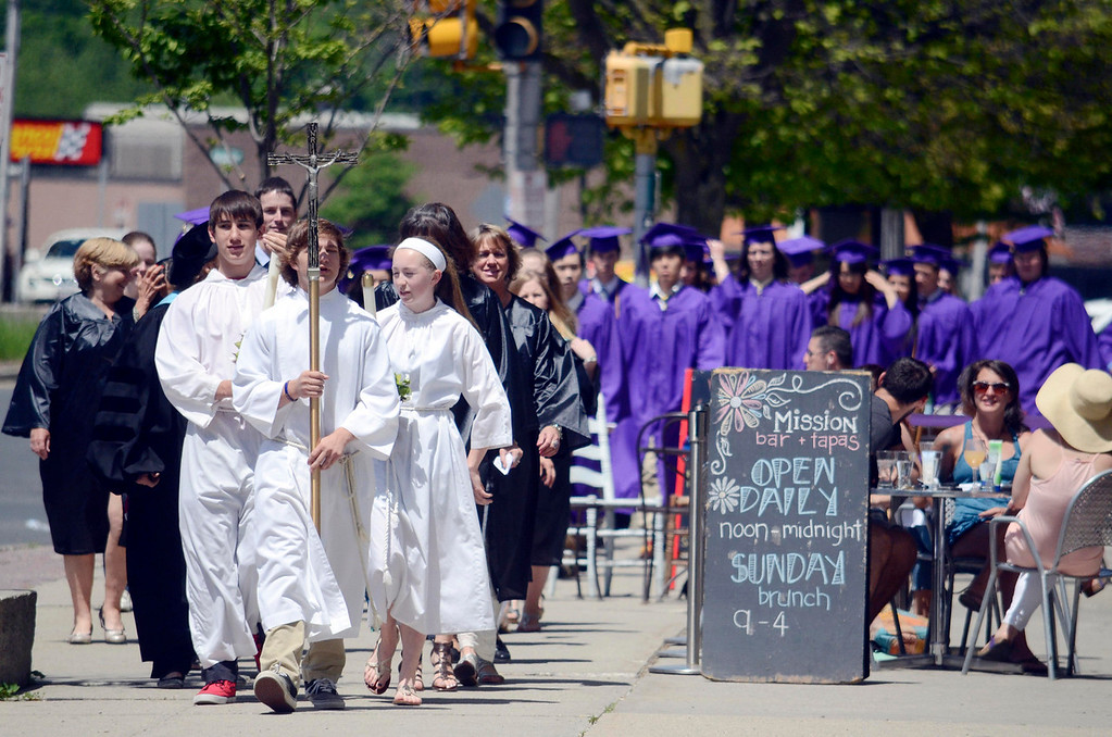 . St Joseph faculty and Senios head to St Joseph Church on North Street for graduation.  Sunday June 1, 2014.  Ben Garver / Berkshire Eagle Staff / photos.berkshireeagle.com