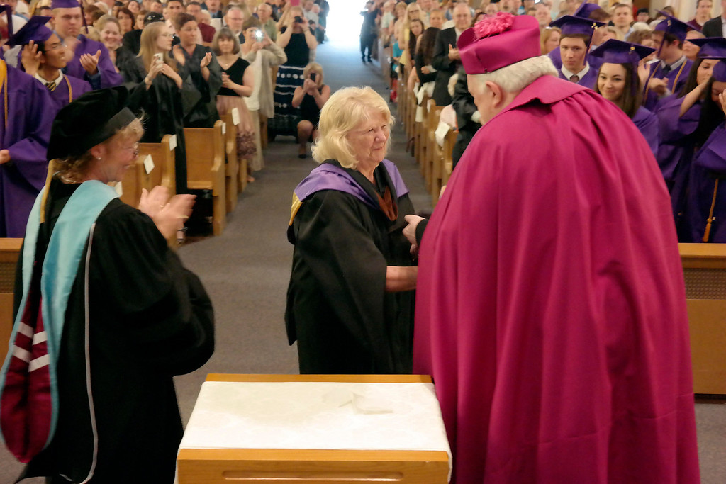 . Lillian Quinn recieves an honorary diploma at the St Joseph High School graduation on the year of her retirement. Sunday June 1, 2014.  Ben Garver / Berkshire Eagle Staff / photos.berkshireeagle.com