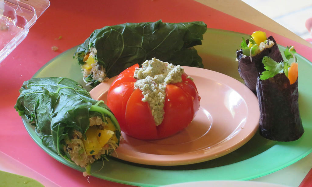 . Students learned to make a tomato \'blossom\' stuffed with a mock tuna salad and sushi rolls with grains, seeds and vegetables during The Nutrition Center\'s Food Adventures summer camp held last week at The Mount in Lenox. Jenn Smith/Berkshire Eagle Staff/photos.berkshireeagle.com Thursday, July 3, 2014