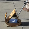 The Sunspotter is an innovative, wooden, folded-Keplerian telescope that uses a system of mirrors and a powerful 62mm objective lens to project a solar image -- a waxing solar eclipse in this case -- onto a white viewing screen.