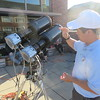 Williams College junior Ross Yu, of Huntington Beach, Calif., explains how a POETS (Portable Occultation, Eclipse, and Transit System) works.