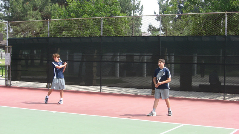 Nick Mansfield and Cyrus Jabbari warm up for St. Francis match, April 2010