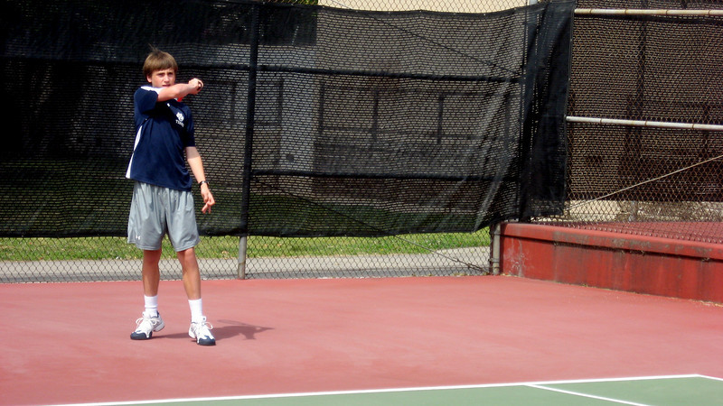 Griffin Cohen admires his forehand winner versus St. Francis, April 2010