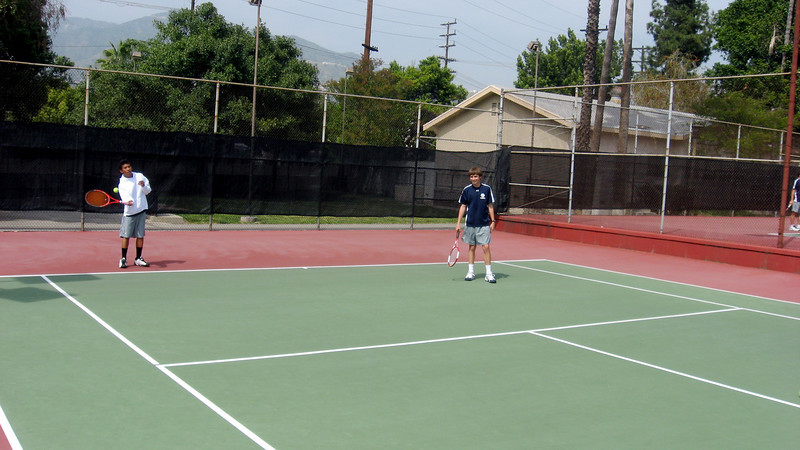 Steffen Deetjen and Griffin Cohen prepare for St. Francis match, April 2010