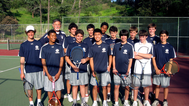 LHS JV tennis squad for 2010 at start of season at home courts in Griffith Park.