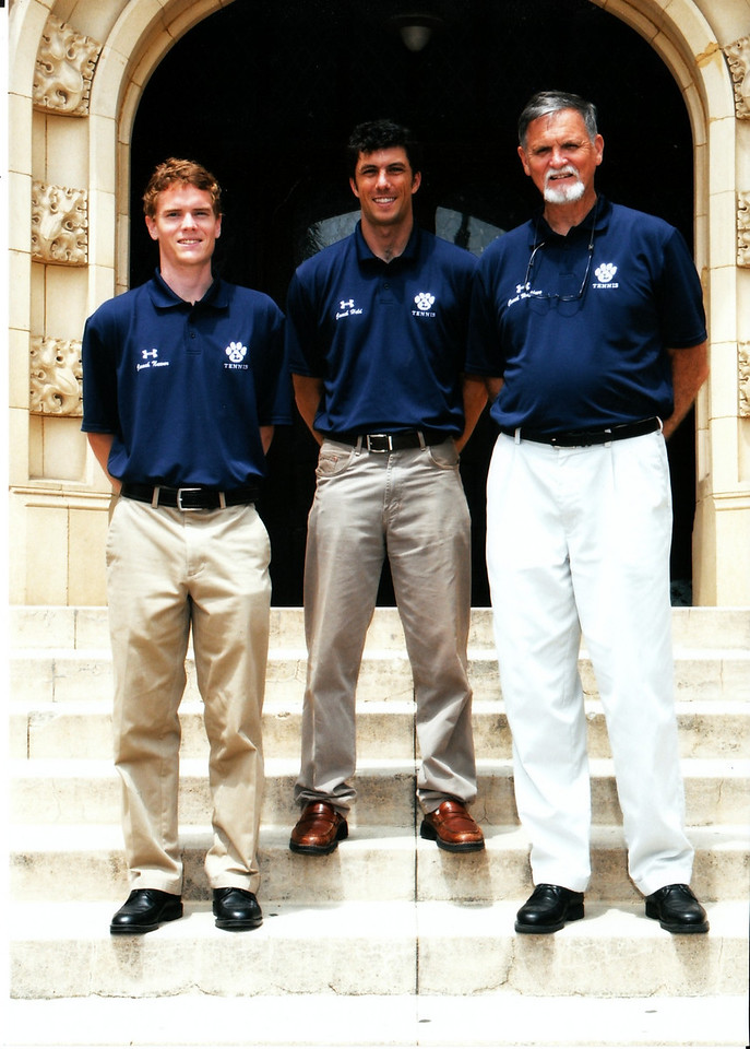 LHS Tennis Coaching Staff for 2010: Assistant Varsity Coach Charlie Nuwer, Head Varsity Coach Brian Held (center), and JV Coach Dave McClave (right).   May 2010