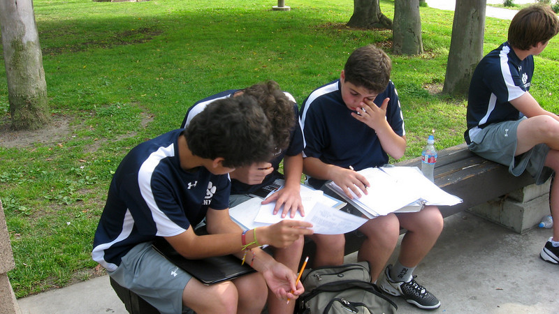 For JV tennis squad the word that follows athlete is scholar. St. Francis match in April 2010.  Chris Llerena, Ted Hammel and Cyrus Jabbari