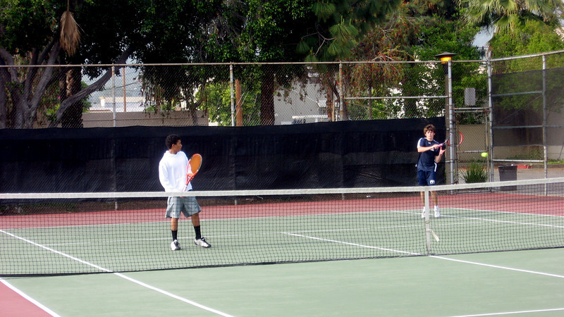 Doubles winners Steffen Deetjen and Vincent Carolan Foster in set versus St. Francis,  April 2010
