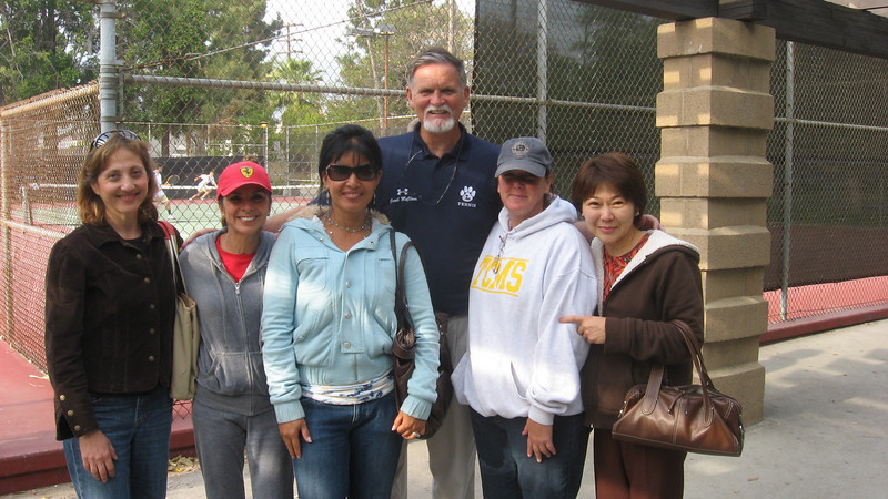 Coach McClave with consensus All-American tennis Moms: left to right--Mrs. Jabbari, Mrs. Buendia, Mrs. Kracoff, Mrs. Hammel, and Mrs. Francia.  April 2010