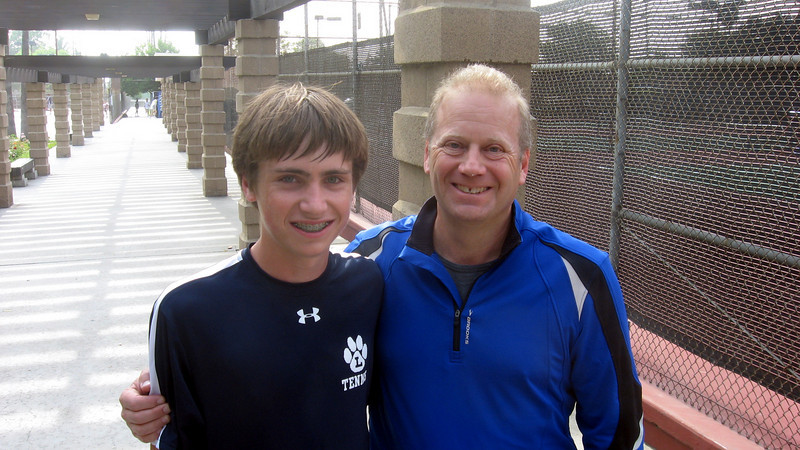 Griffin Cohen with his Dad at St. Francis match, April 2010