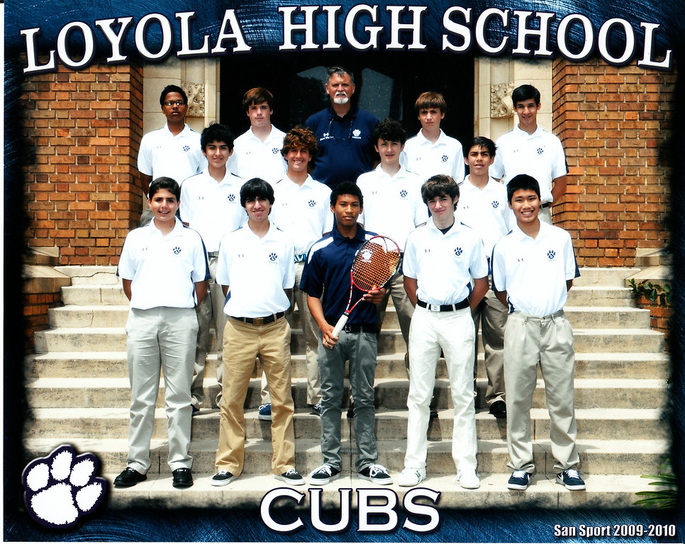 Officical team photo for LHS JV Tennis Team for 2010. First row (left to right): Cyrus Jabbari, Julio Buendia, Steffan Deetjen, Vincent Carolan Foster, AJ Francia (team captain); second row: Chris Llerena, Nick Mansfield, Ted Hammel, Stephen Handal: top row: Dan Leal, Shea McConnell, Coach Dave McClave, Griffin Cohen, and Jared Kracoff, May 2010.   Team record:  9-4