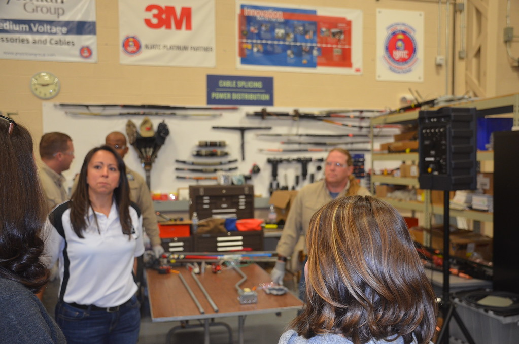 . Jennifer Smith, an instructor at the Detroit Electrical Industry Training Center, talks to Macomb County high school counselors about skilled trade opportunities during National Apprenticeship Week.