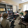 Music theory professor Robert Cook with students in the new faculty offices, University of Iowa School of Music, new spaces in the University Capitol Centre, Iowa City, Iowa, 10/13/2009.