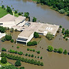 Aerial photos of the UI campus taken when the Iowa River was about 31 feet.  Flood stage for the Iowa River at Iowa City is 22 feet.  The previous record was set in 1993 at 28.5 feet.