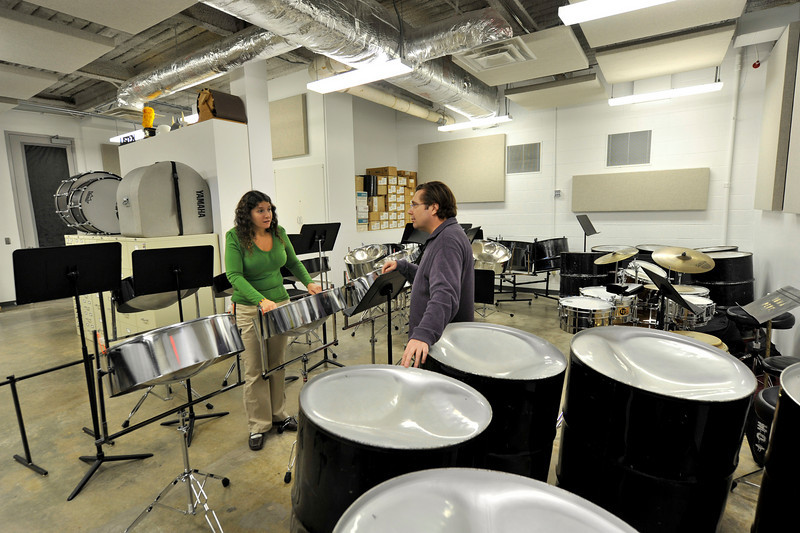 Percussion director Dan Moore works with a student in the Music West Interim Building (originally the UI Museum of Art) on the campus of the University of Iowa, 10/16/09.