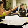 Mary Cohen leads the Oakdale Prison Community Choir which includes inmates as well as members of the local community.  Practice is held at the Iowa Medical and Classification Center in Coralville.