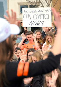 Shaun Walker — The Times-Standard  Arcata High School students and gather in the Arcata Plaza on Wednesday morning in silent remembrance of the latest Florida school shooting victims after a bit was read about each one killed, some calling for stricter gun control.