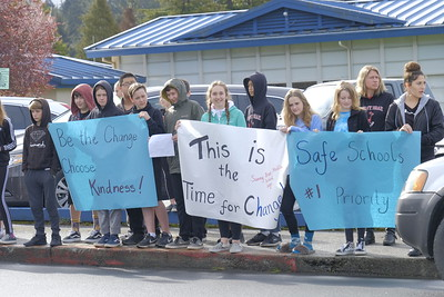 Shaun Walker — The Times-Standard  Sunny Brae Middle School students and several staff members stand in front of the Arcata school Wednesday morning in silent remembrance of the latest Florida school shooting victims and calling for gun law reforms.Shaun Walker — The Times-Standard  Sunny Brae Middle School students and several staff members stand in front of the Arcata school Wednesday morning in silent remembrance of the latest Florida school shooting victims and calling for changes that will help prevent more similar events.