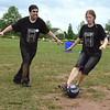 Bedminster Elementary teachers Matt Sadowsky and Chelsey Potuck take on the Soccer Kick challenge. Debby High — For Montgomery Media