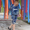 First-grader Brandon Rajan marches his way through the Human Car Wash challenge. Debby High — For Montgomery Media