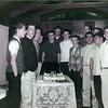 Warren Lewis behind cake, Dave Burton, Norm Wood, Darrell Coleman, Bill Langley, Freddie Macias