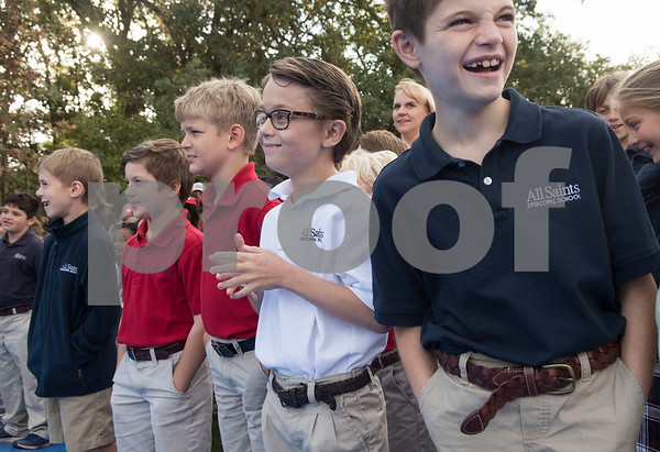 All Saints Episcopal School students attend the dedication ceremony for the school's new learning farm Tuesday Oct. 10, 2017 in Tyler, Texas. All Saints Episcopal School has the largest school learning farm in the state of Texas. It is located on their campus and allows students to learn about farming from planting and harvesting plants to caring for egg-laying hens.  (Sarah A. Miller/Tyler Morning Telegraph)