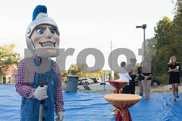 All Saints Episcopal School mascot Big Blue dresses as a farmer for the dedication ceremony for the school's new learning farm Tuesday Oct. 10, 2017 in Tyler, Texas. All Saints Episcopal School has the largest school learning farm in the state of Texas. It is located on their campus and allows students to learn about farming from planting and harvesting plants to caring for egg-laying hens.  (Sarah A. Miller/Tyler Morning Telegraph)