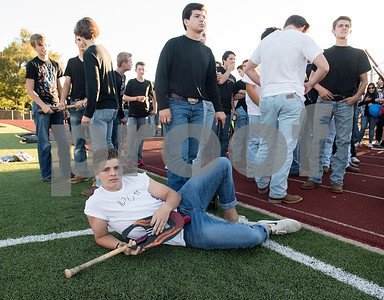 Robert E. Lee High School baseball team player senior Nate Dial poses as a musician for the Rock and Roll themed homecoming parade at the school Monday Oct. 16, 2017.   (Sarah A. Miller/Tyler Morning Telegraph)