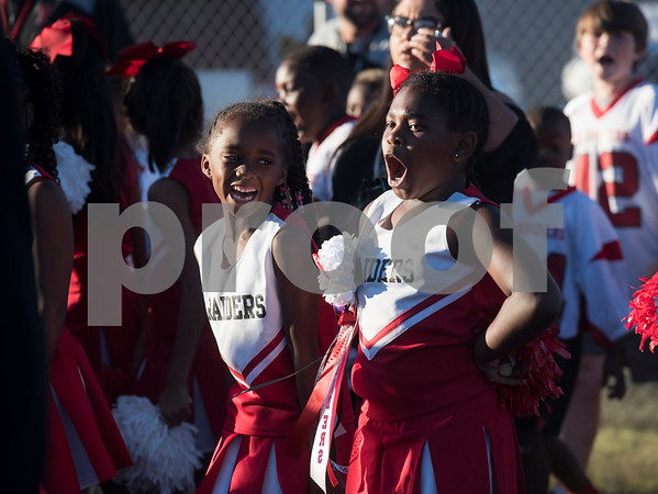 Red Raiders youth cheerleaders line up to take the field for the Robert E. Lee High School homecoming parade at the school Monday Oct. 16, 2017.   (Sarah A. Miller/Tyler Morning Telegraph)