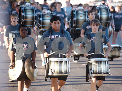 The Robert E. Lee High School marching band performs in the homecoming parade at the school Monday Oct. 16, 2017.   (Sarah A. Miller/Tyler Morning Telegraph)