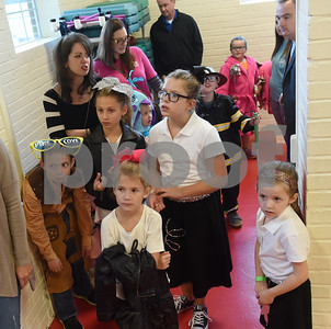 Students wait to enter the Sock Hop at Caldwell Elementary Arts Academy in Tyler Friday evening Oct. 21, 2016. The sock hop raised money to support the dance program which hosts a large dance showcase in the spring featuring every student in the school. Proceeds go toward costumes, building stage sets and other expenses.   (Sarah A. Miller/Tyler Morning Telegraph)